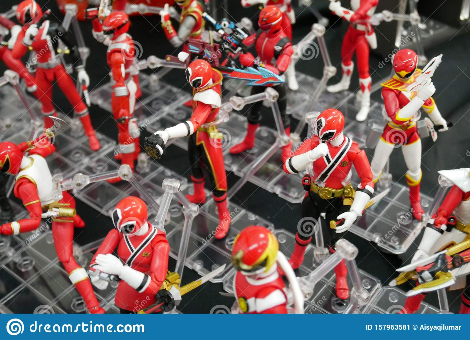 Selective focused of fictional character action figure from American kids TV series Power Rangers.