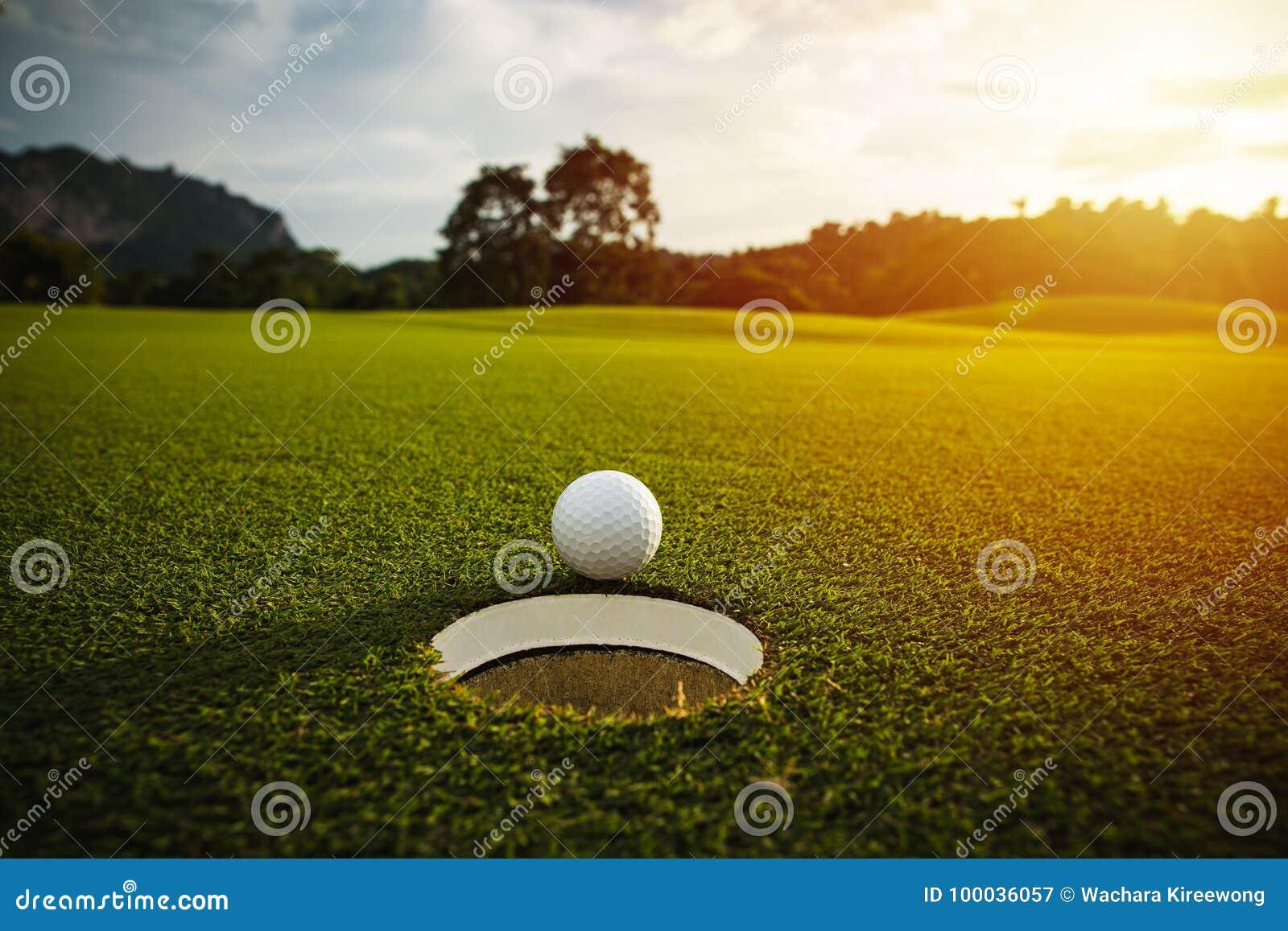 Selektivt fokusera near hål för vit golfboll på goda f för grönt gräs