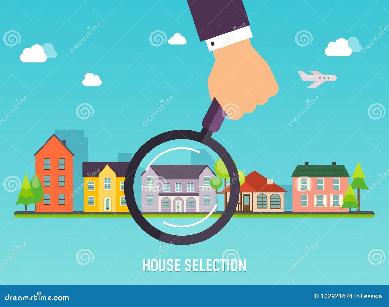 Selezione della Camera Lente d ingrandimento con la casa Concetto per le sedere di web