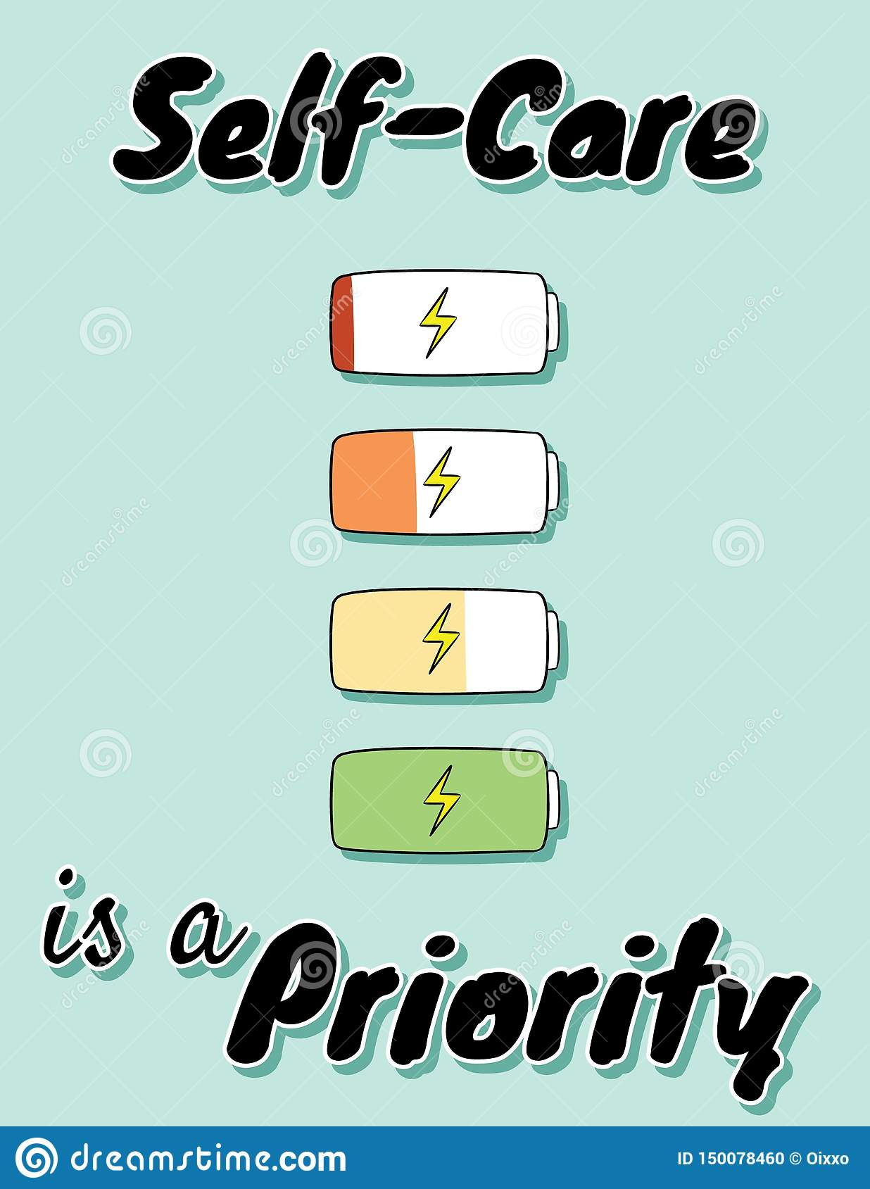 Self-care is a priority. Charge your inner battery. Motivational cute cartoon postcard