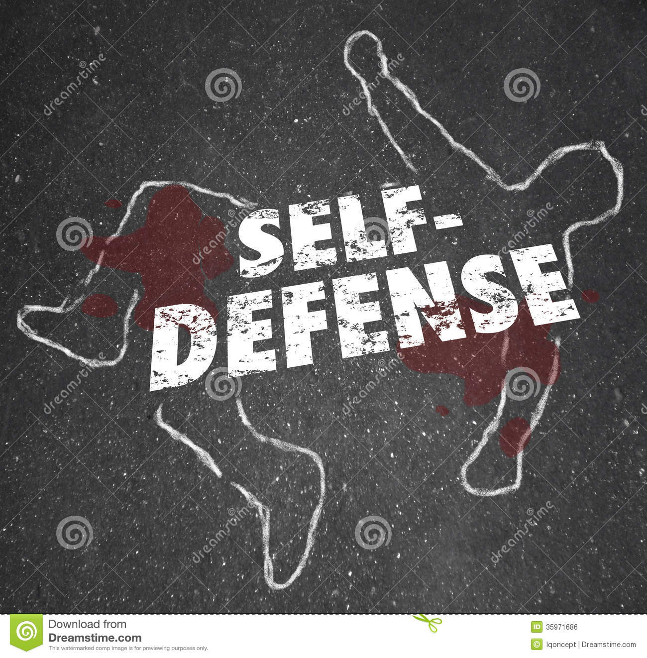 Self Defense Words Chalk Outline Body Defending Yourself ...