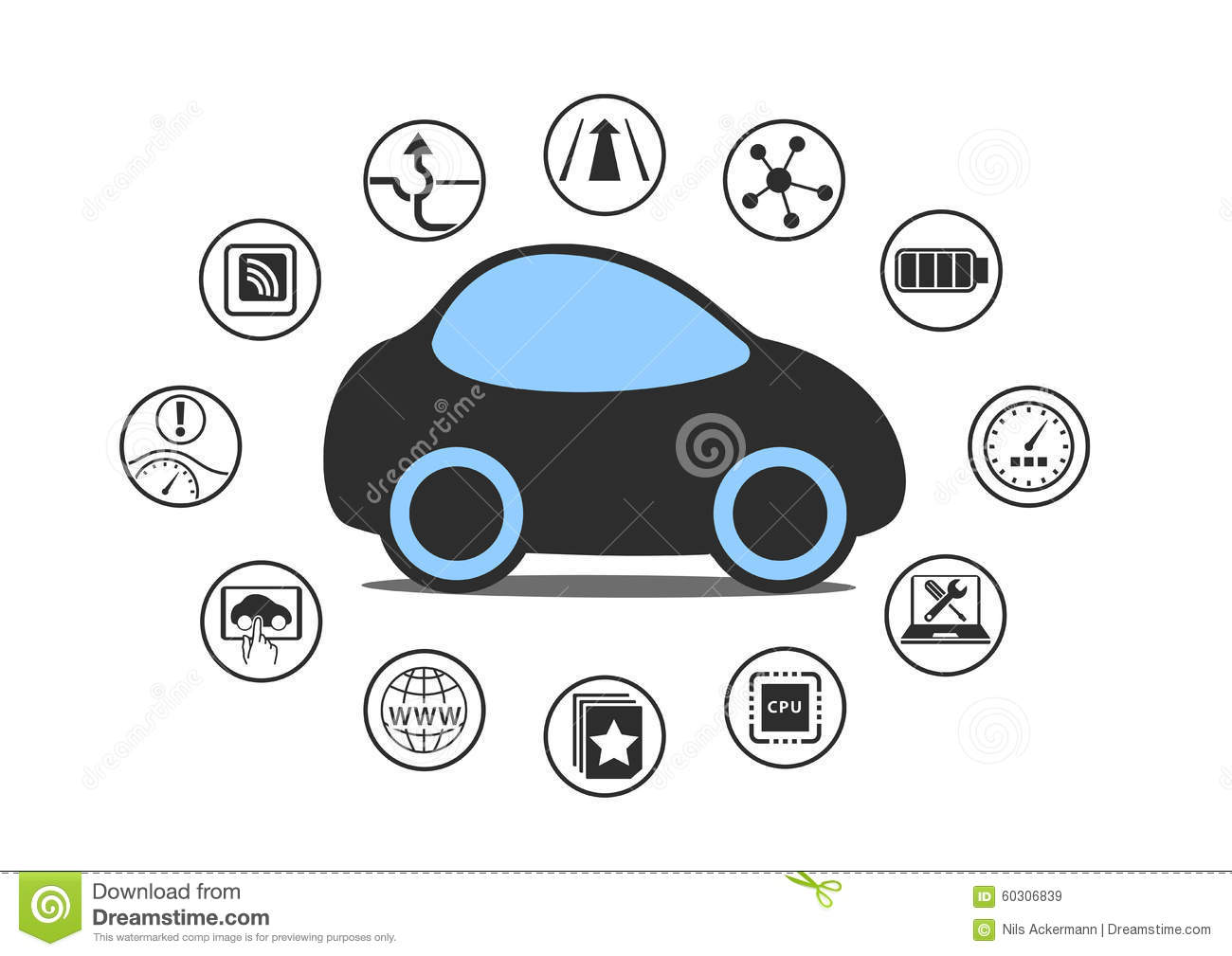 Self driving car and autonomous vehicle concept. Icon of driverless car with sensors like lane assistance, head up display.
