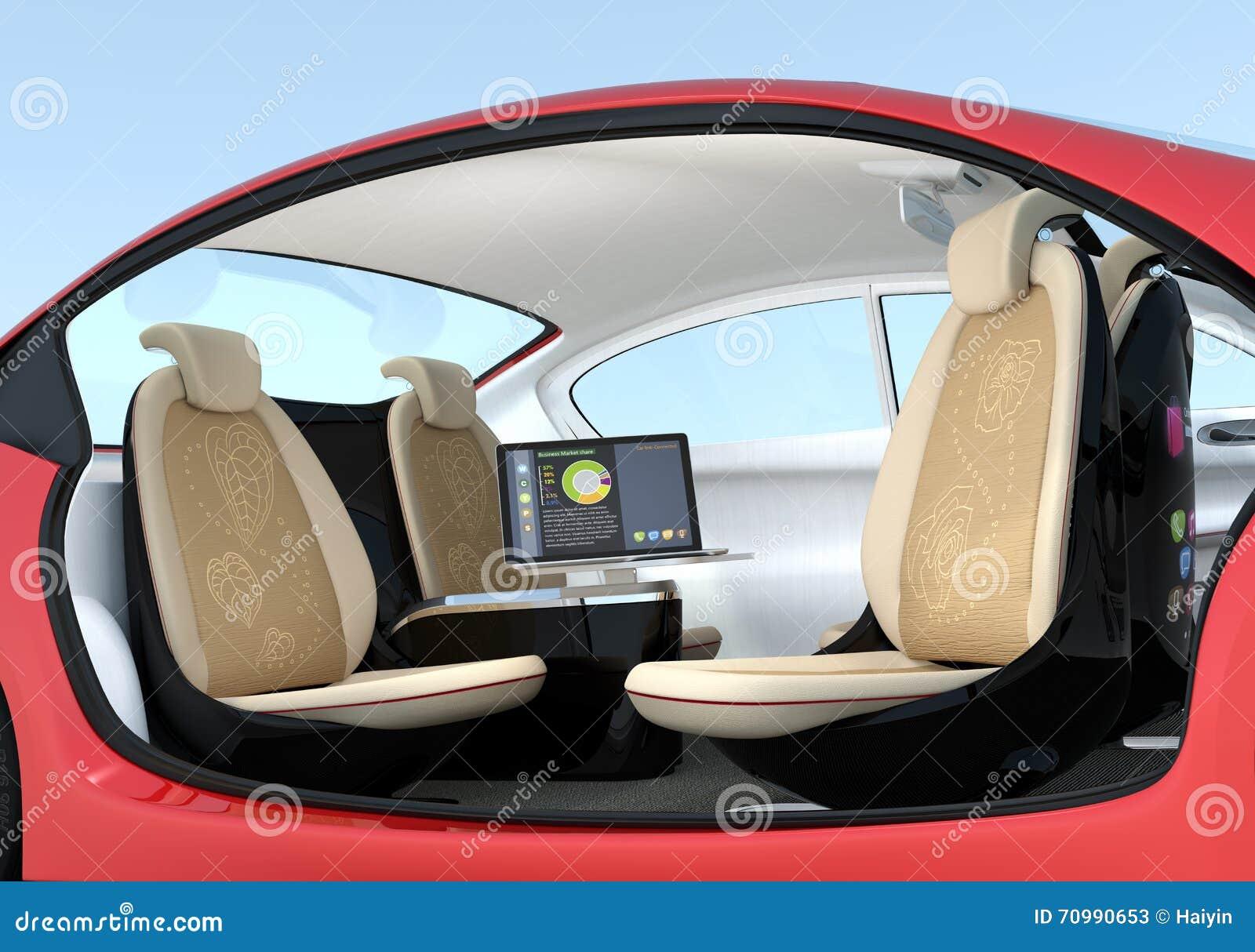 self driving car interior concept stock illustration illustration of auto robot 70990653. Black Bedroom Furniture Sets. Home Design Ideas
