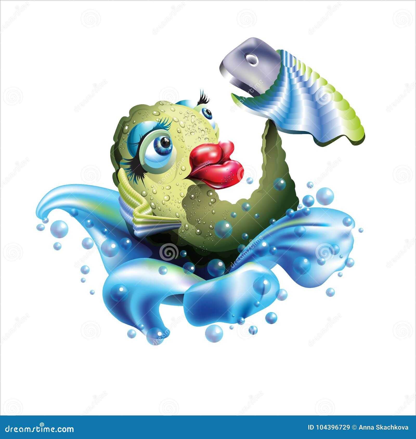 Self Fish Holding A Smart Phone Stock Illustration Illustration Of
