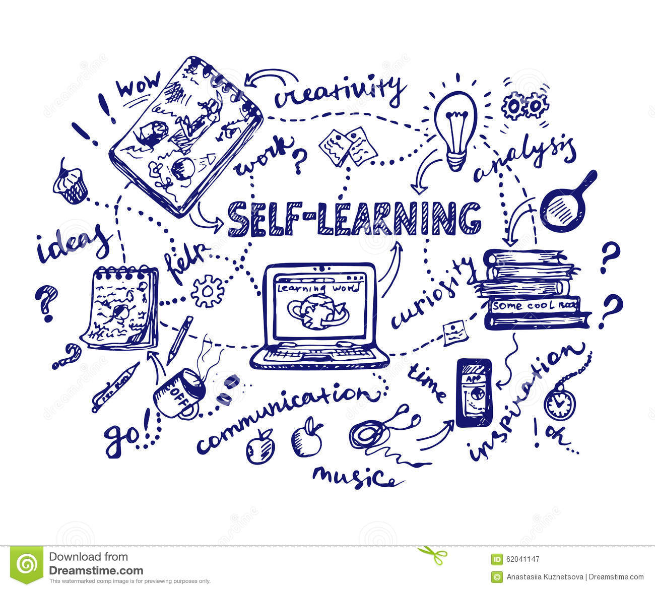 self learning doodle illustration stock vector