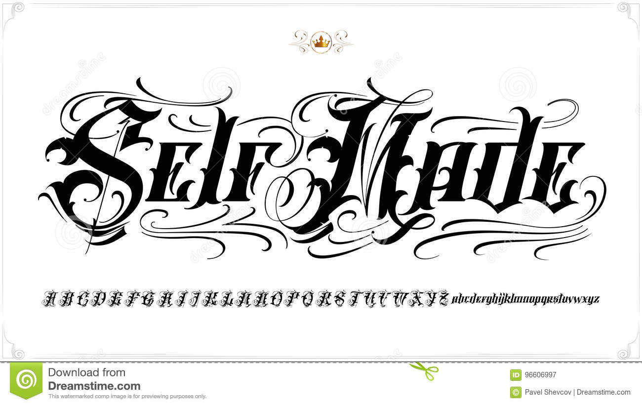 Self Made Tattoo Lettering Stock Vector - Image: 96606997