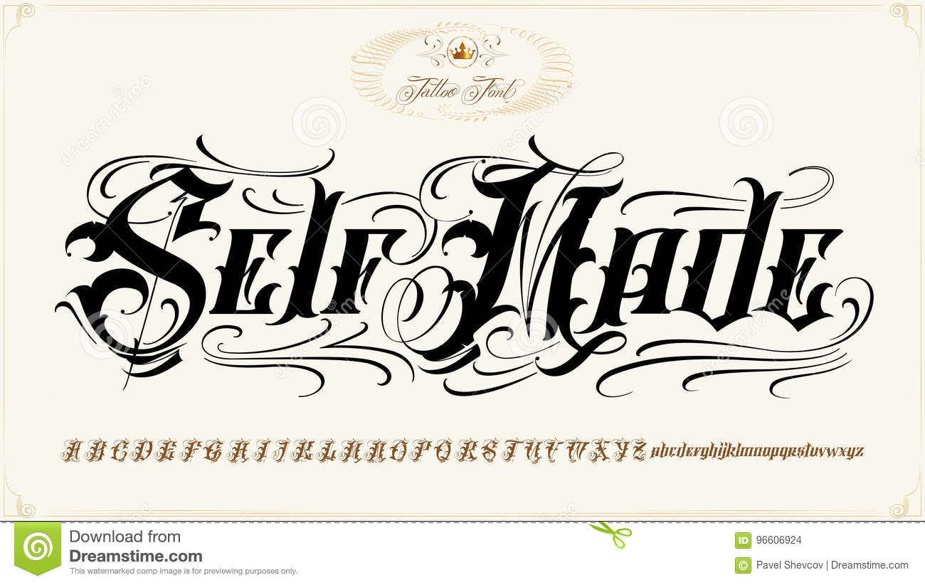 Self Made Tattoo Lettering Set Stock Vector Illustration Of