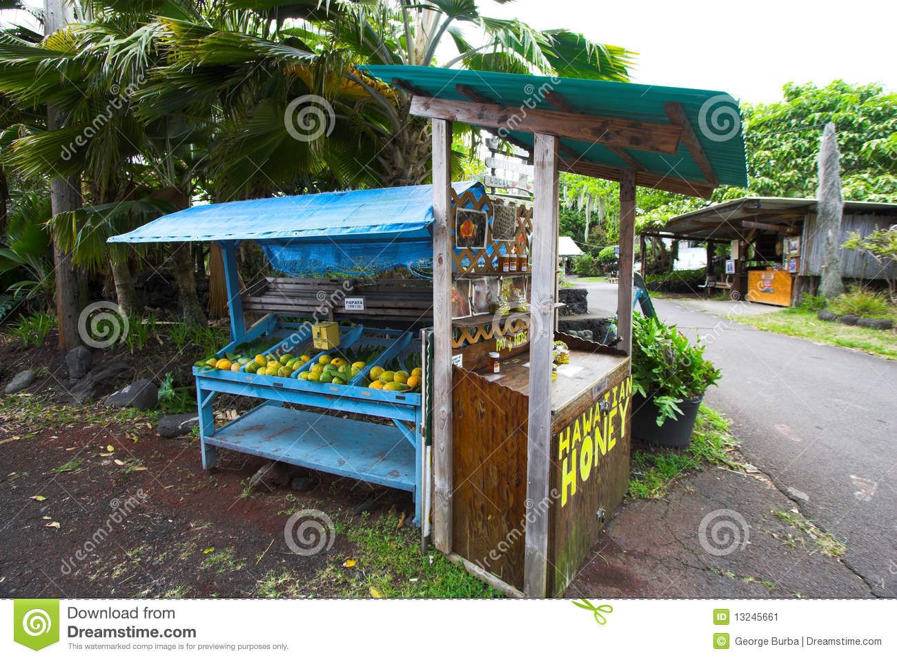 Self Serve Honey And Fruit Stand Stock Image Image 13245661