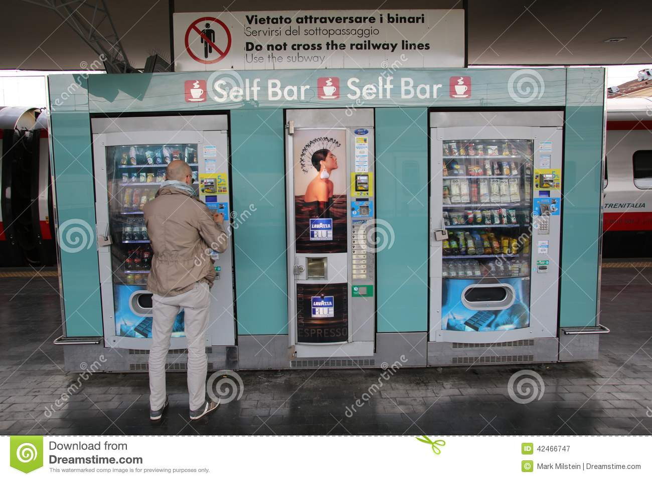 Self Service Bar And Automat In Italy Editorial Photography Image