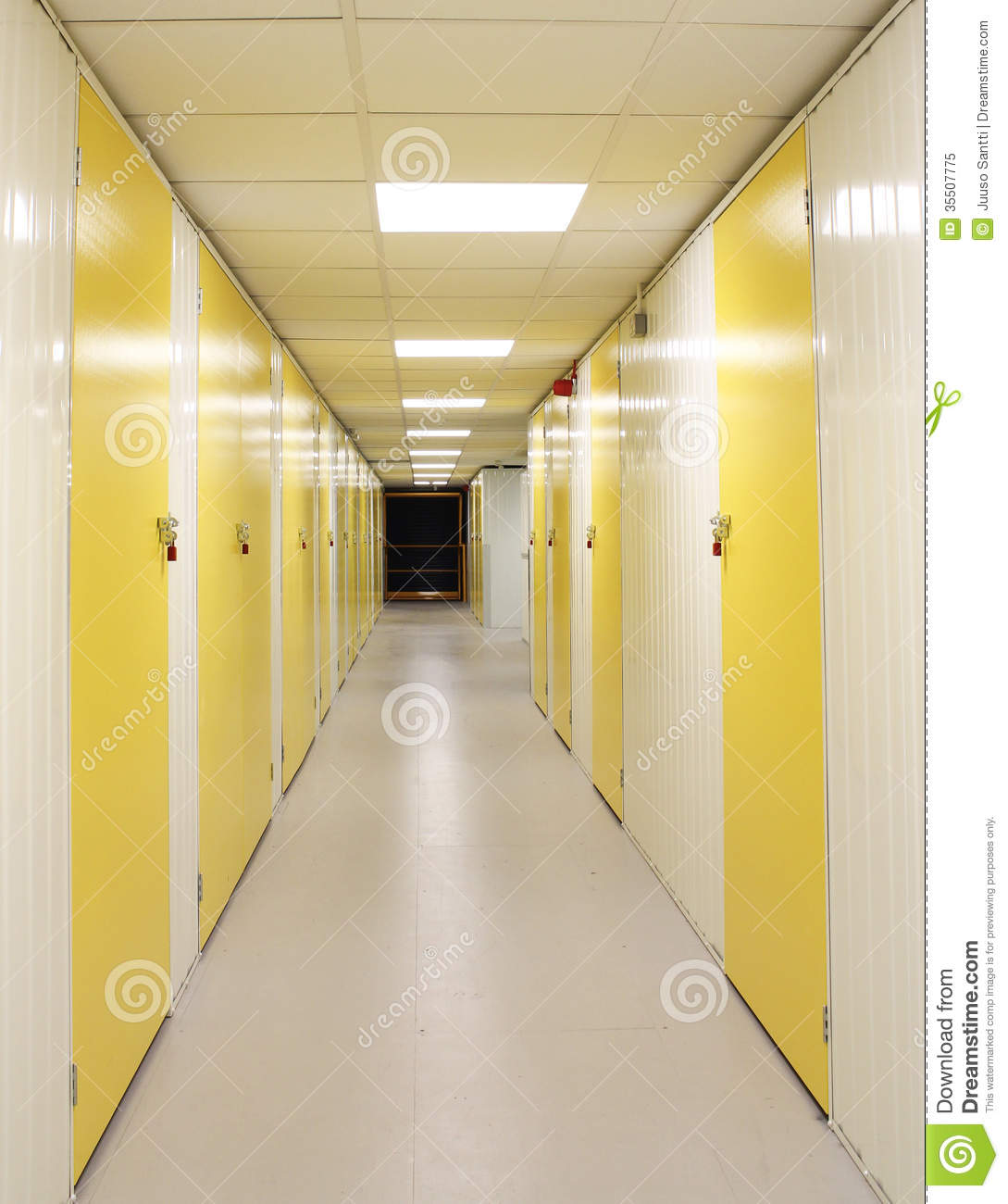Self Storage Corridor With Yellow Doors Stock Image