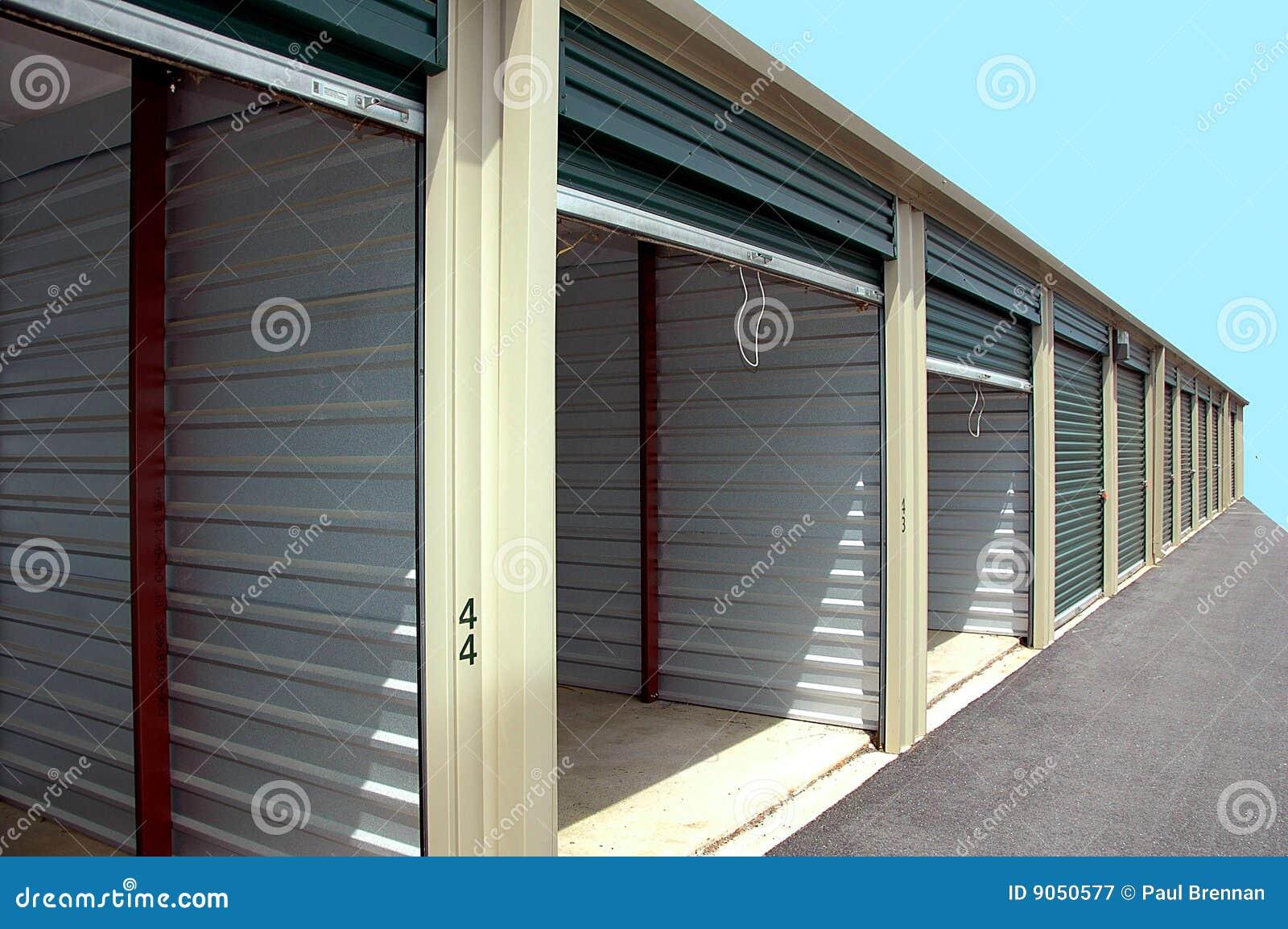 Self storage units stock image of door garage