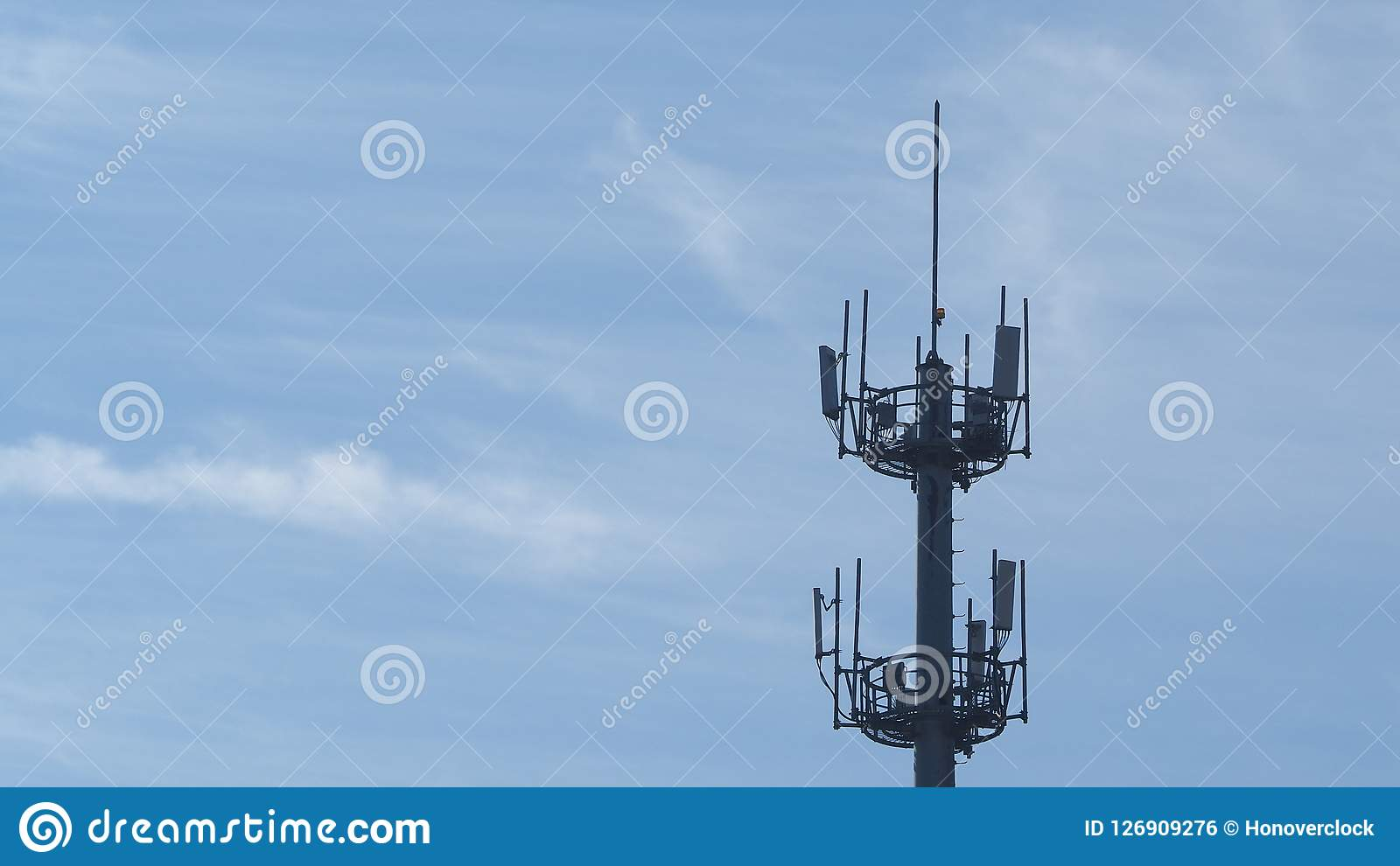 Self Support, Guyed Tower, Guyed Mast, Pole. Telecommunication Tower. Cell Phone Signal Tower on sky background