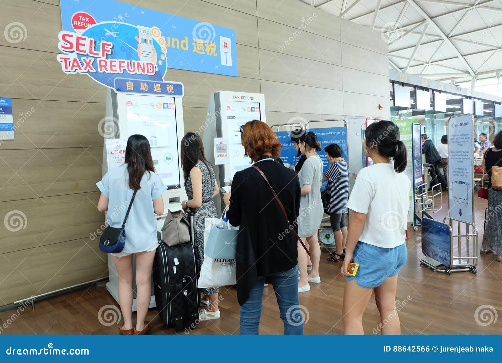 self tax refund machine at incheon airport editorial photo. Black Bedroom Furniture Sets. Home Design Ideas