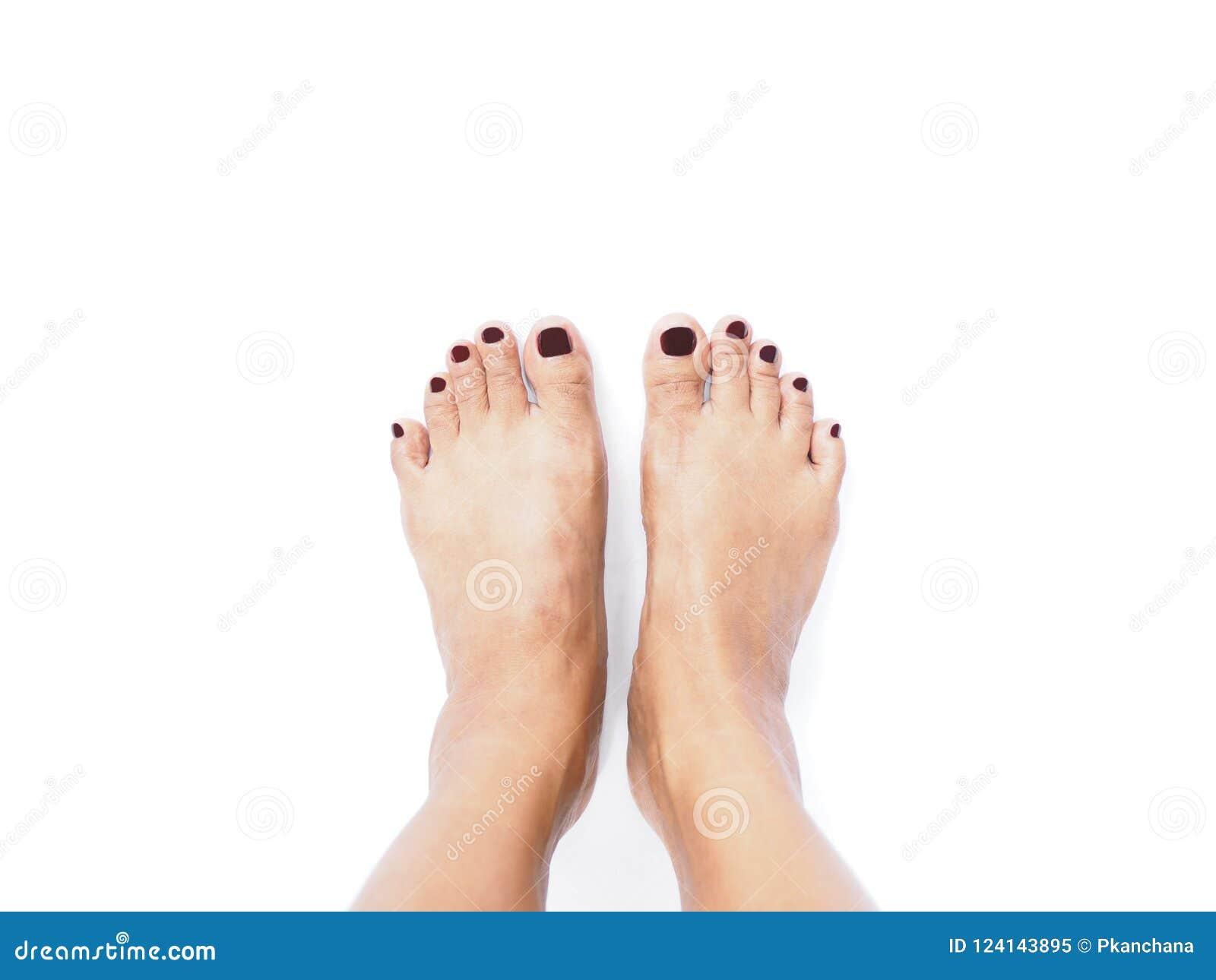 Selfie在白色背景隔绝的妇女脚