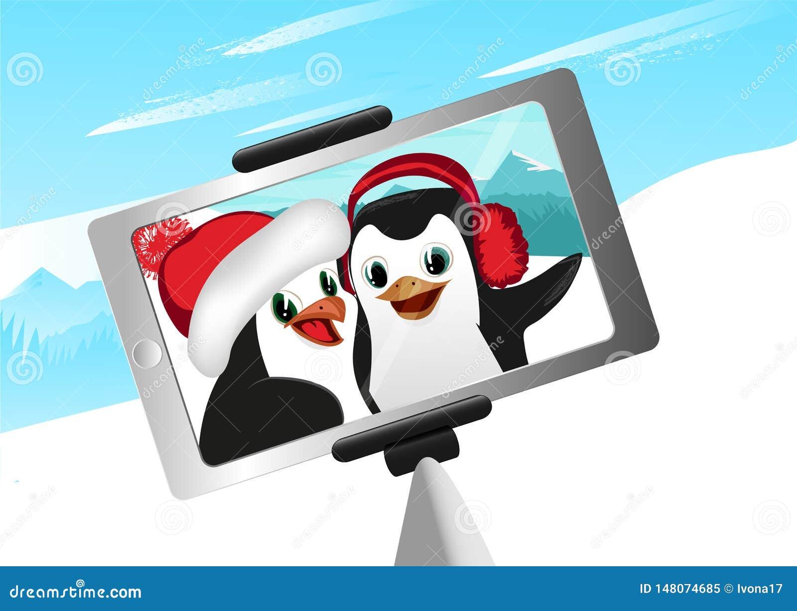 Selfie d illustration de vecteur de deux de pingouins montagnes d hiver