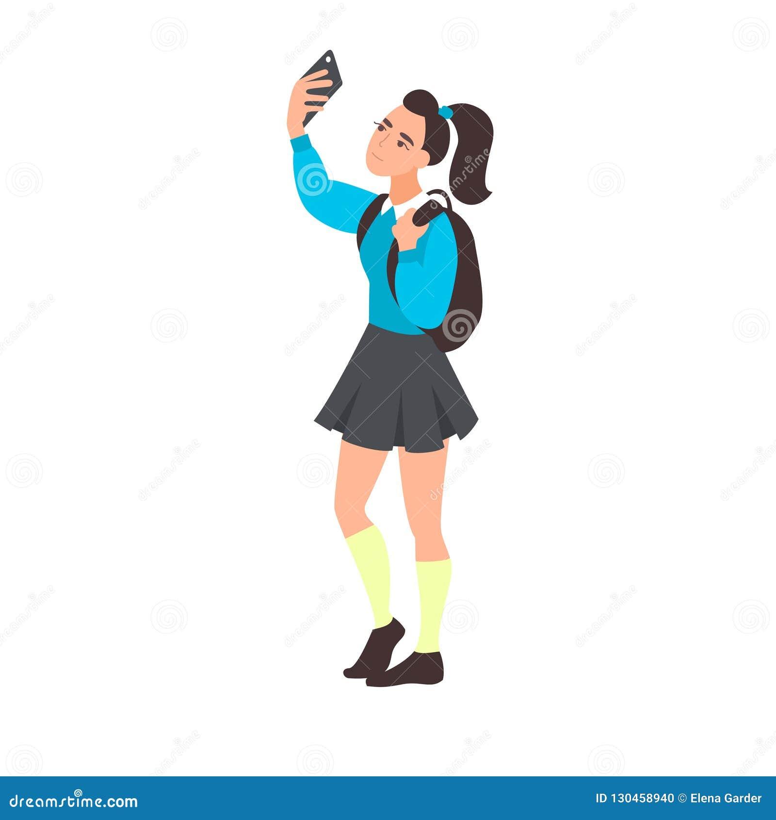 Selfie da tomada da jovem mulher Adolescente que blogging O estudante adolescente toma uma foto ou um vídeo no telefone celular A