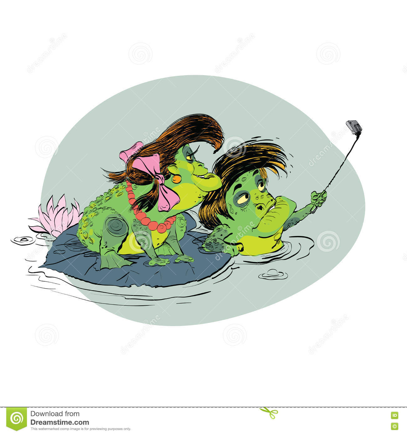 Selfie De Grenouille De Femme Dhomme De Couples Illustration De