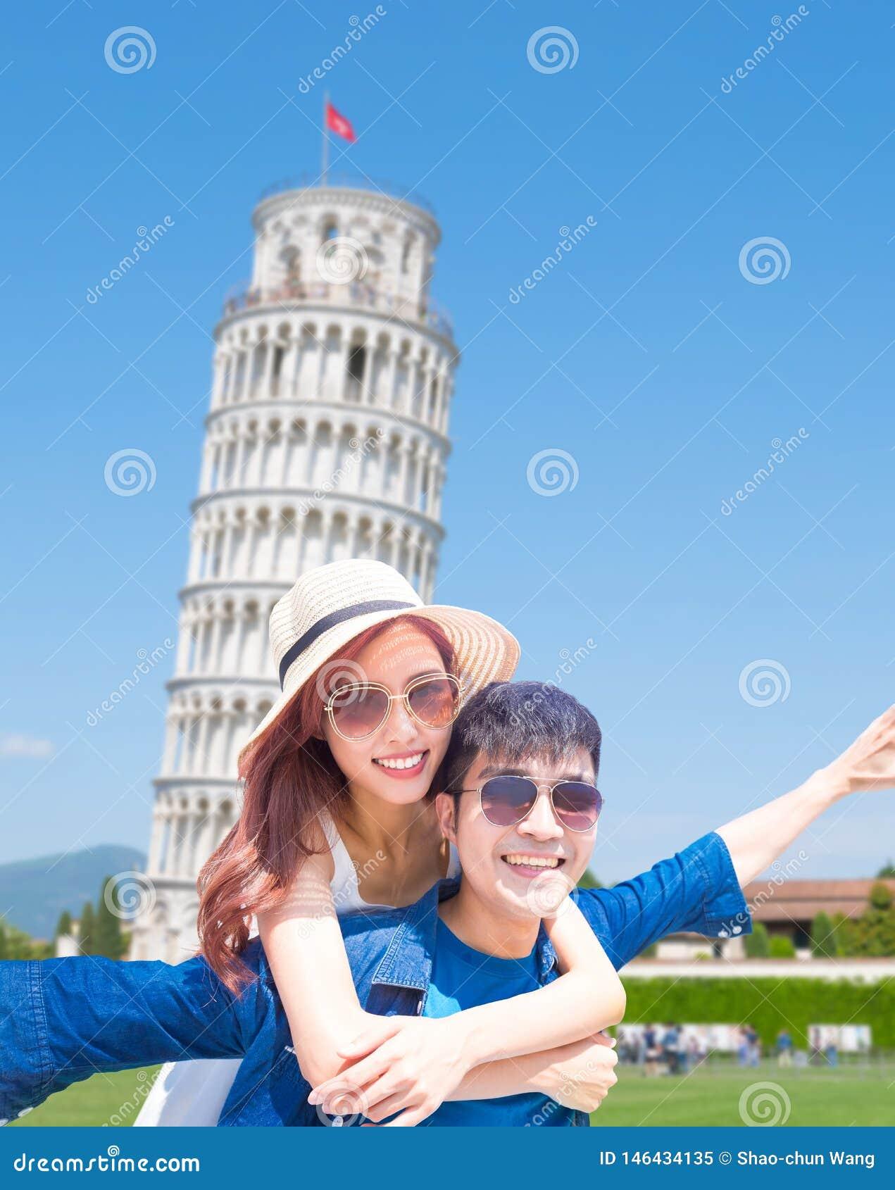 Selfie de la toma de los pares en Italia
