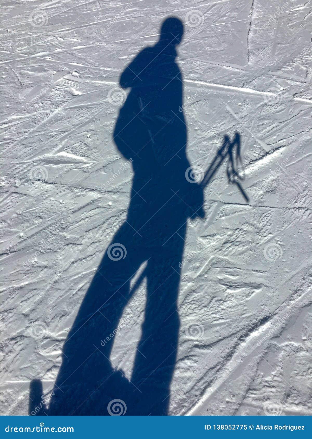 Selfie in de sneeuwschaduw in Grandvalira-hemeltoevlucht