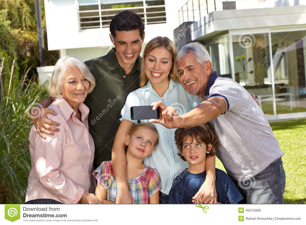 Selfie of family with children