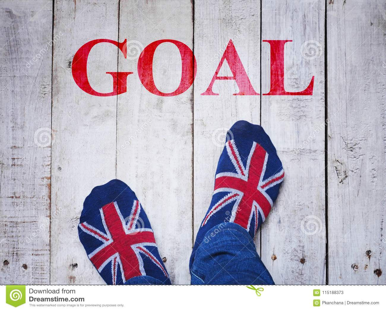 Selfie feet wearing socks with British flag pattern