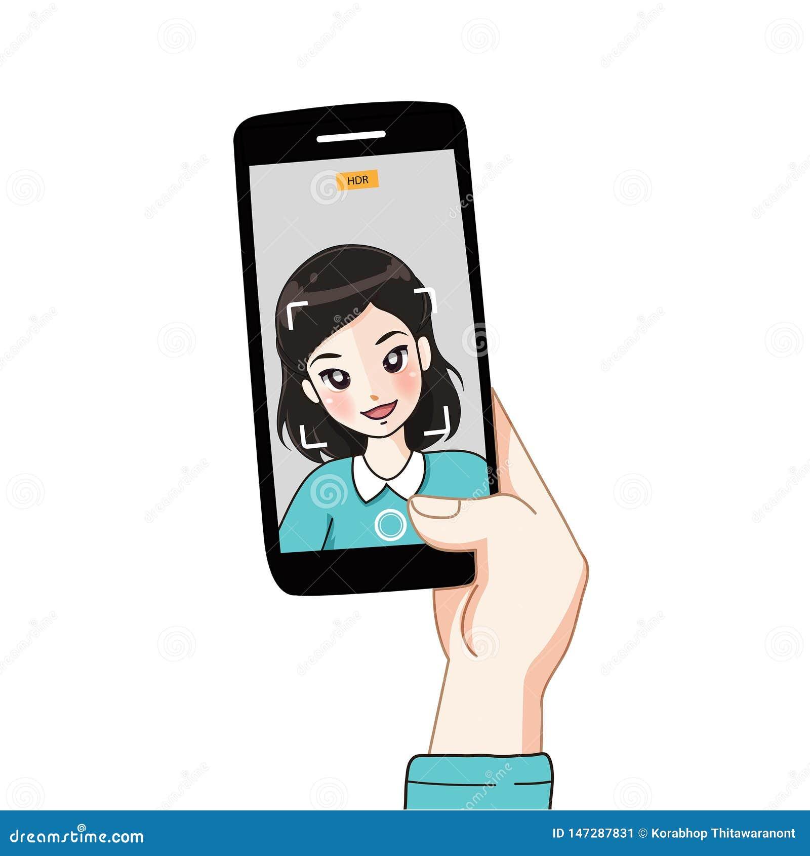 Selfie flicka vid kameran av mobiltelefonen