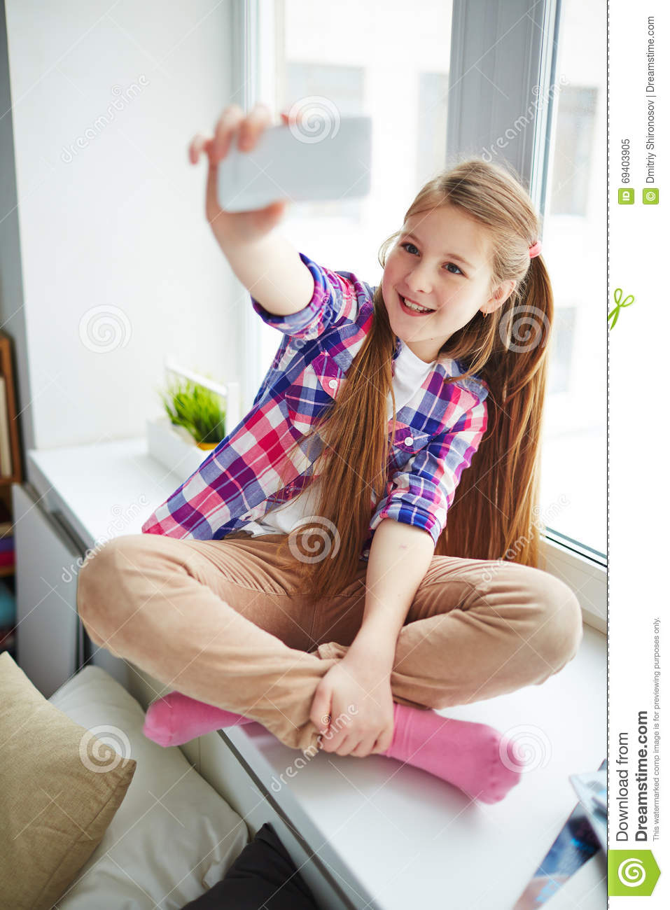 Selfie at home stock image. Image of home, smartphone