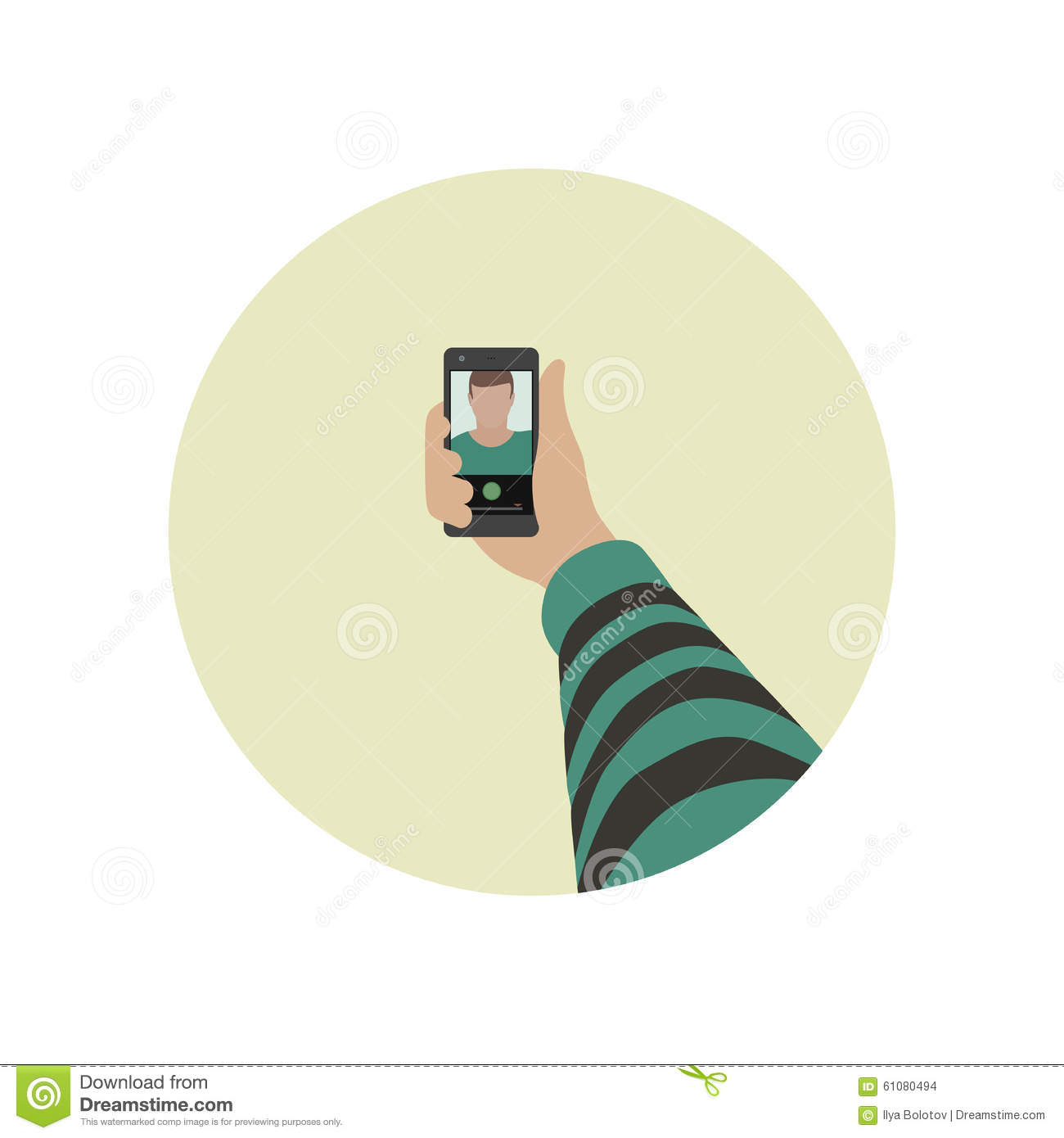 Selfie flat icon. Simple vector illustration of taking selfie photo on ...