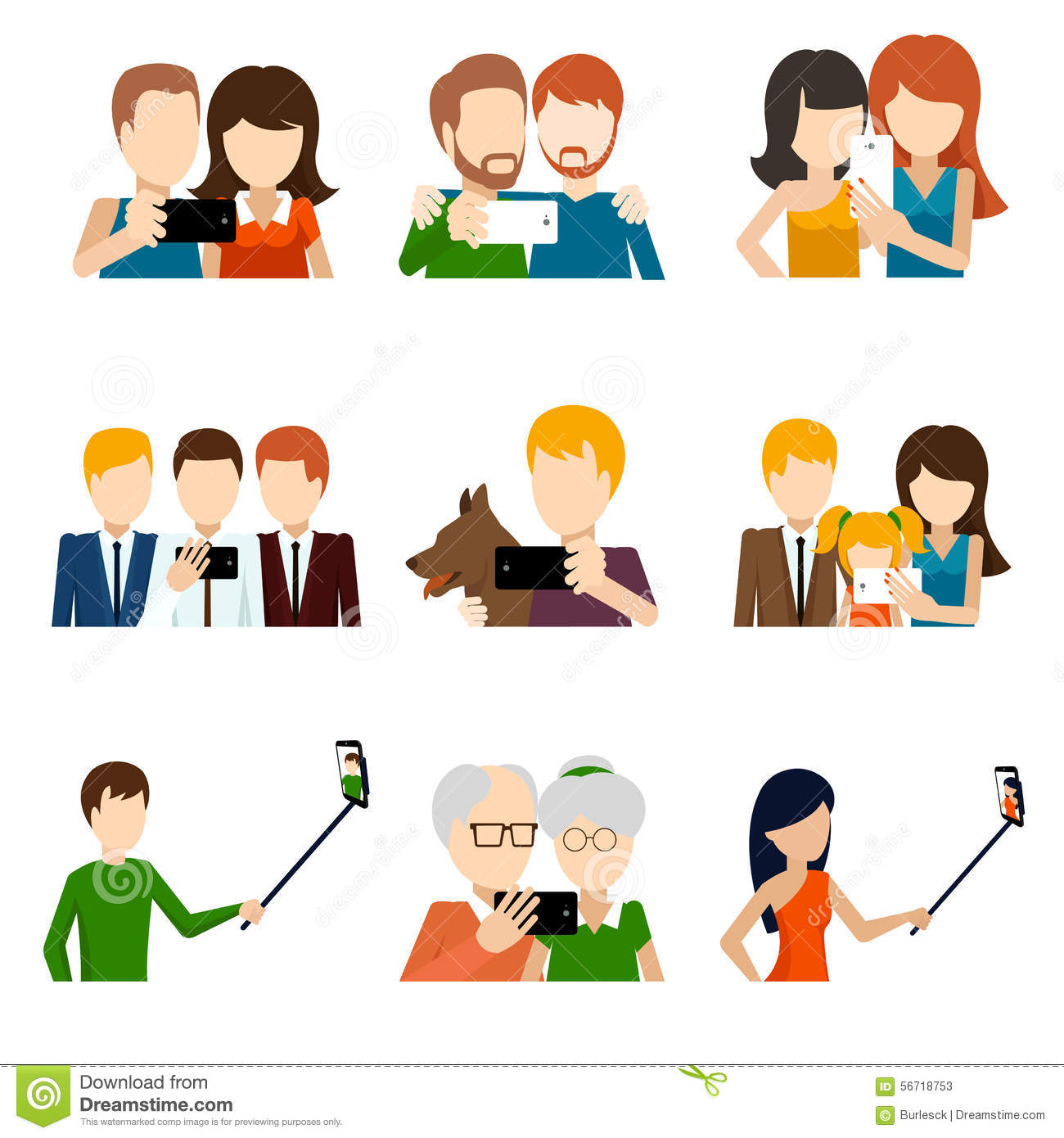 Crowd Of Indian Women Vector Avatars Stock Vector: Selfie Icons Set In Flat Design Style Stock Vector