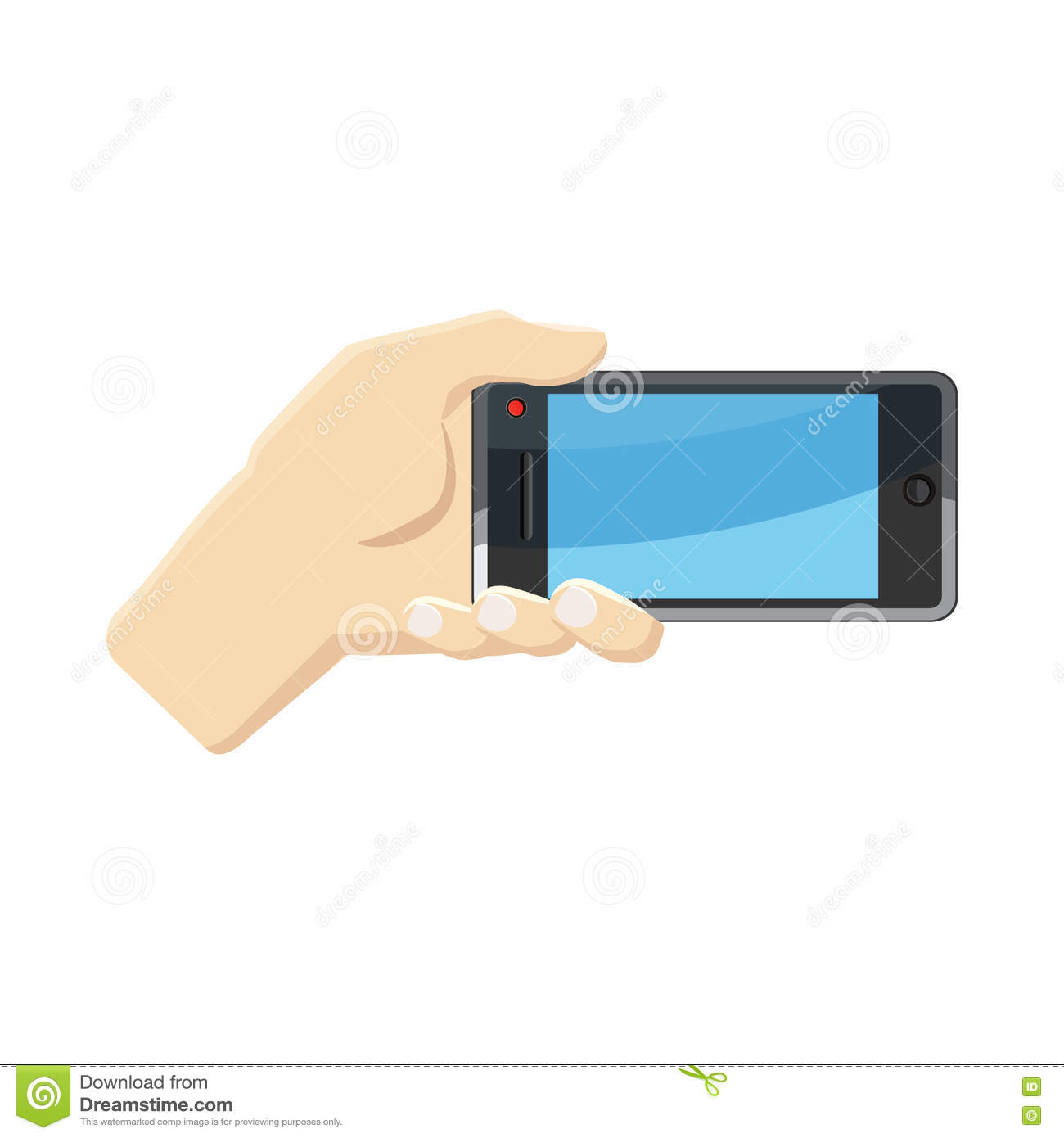 Selfie With Mobile Smart Phone Icon, Cartoon Style Stock Illustration ...