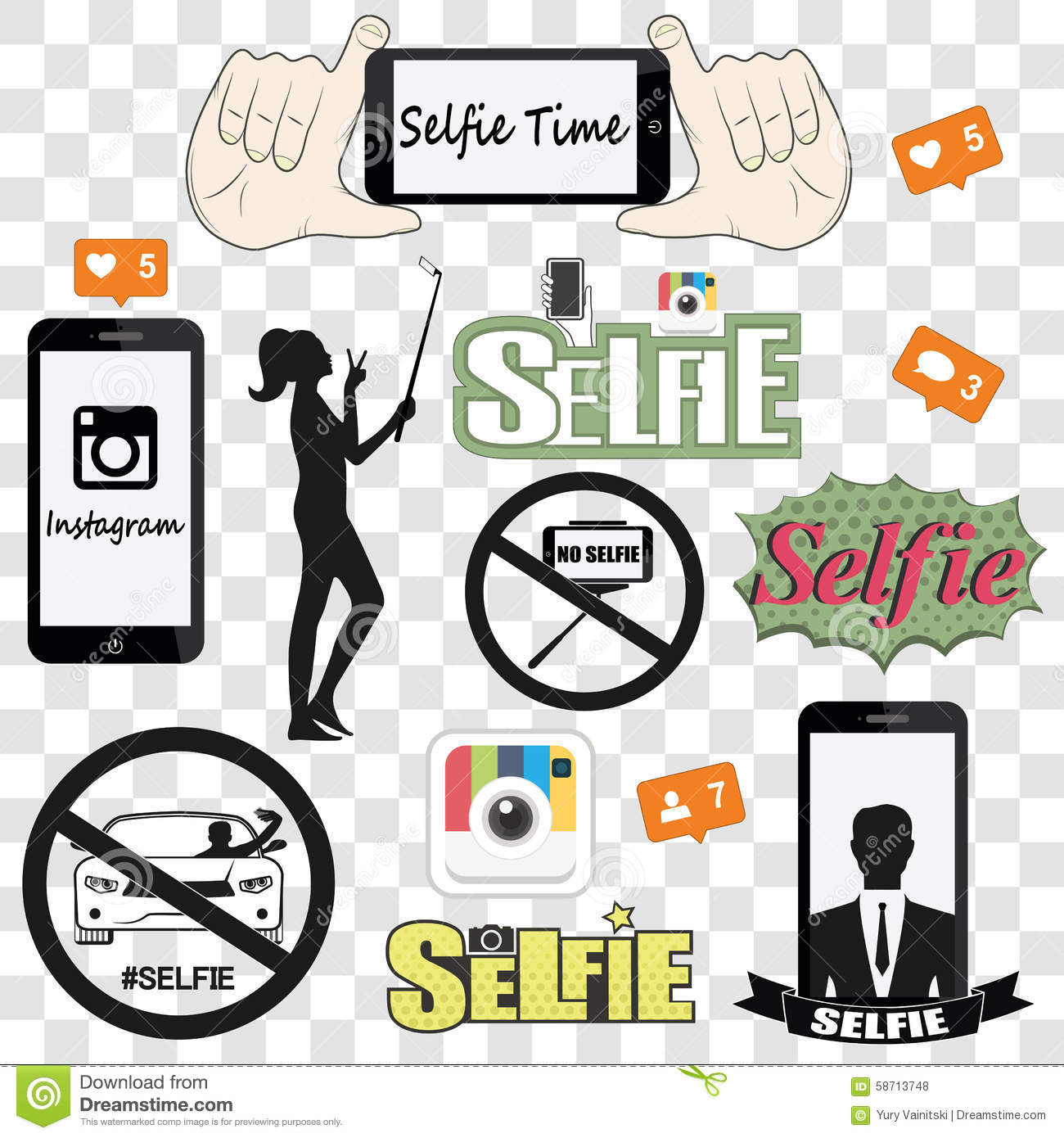 Selfie Related Vector Icons Set Stock Vector - Image: 58713748