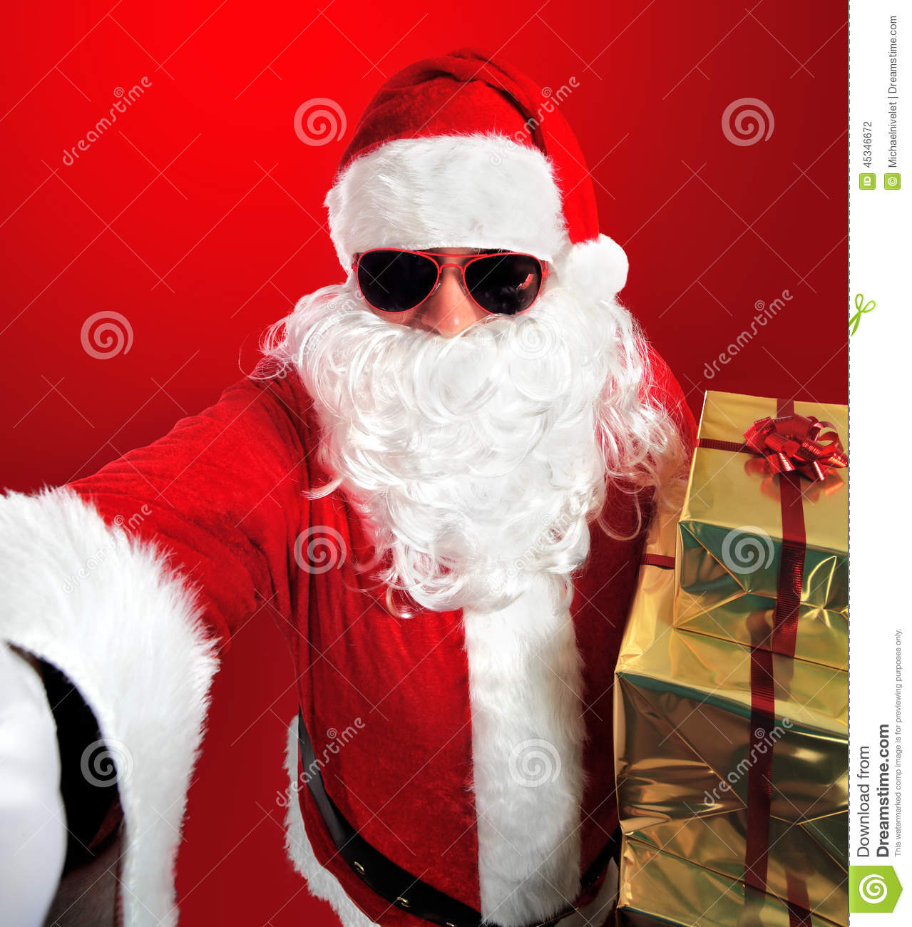 Selfie of santa claus with gifts stock photo image