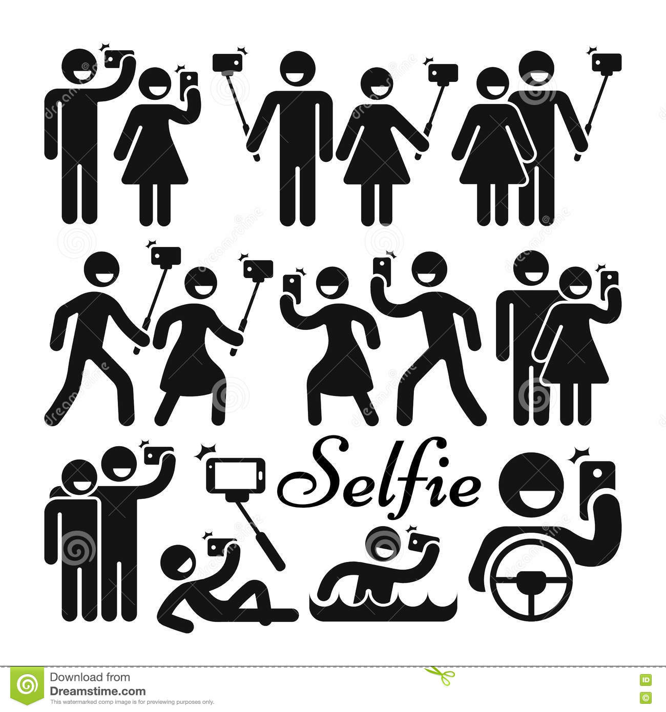 selfie stick woman and man vector icons set stock vector image 77952871. Black Bedroom Furniture Sets. Home Design Ideas