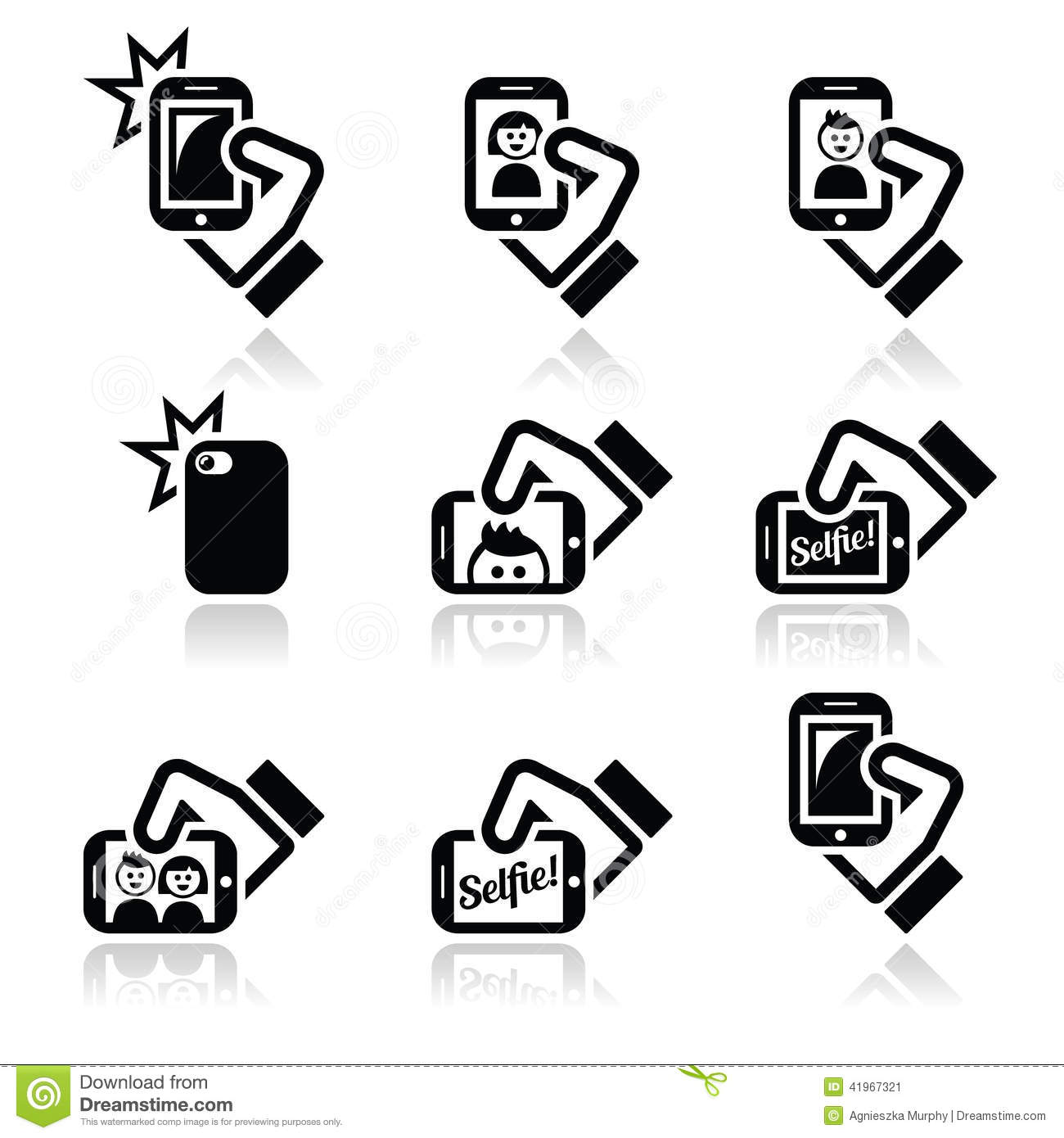 Vector icons set of people taking selfies with mobile or cell phones ...