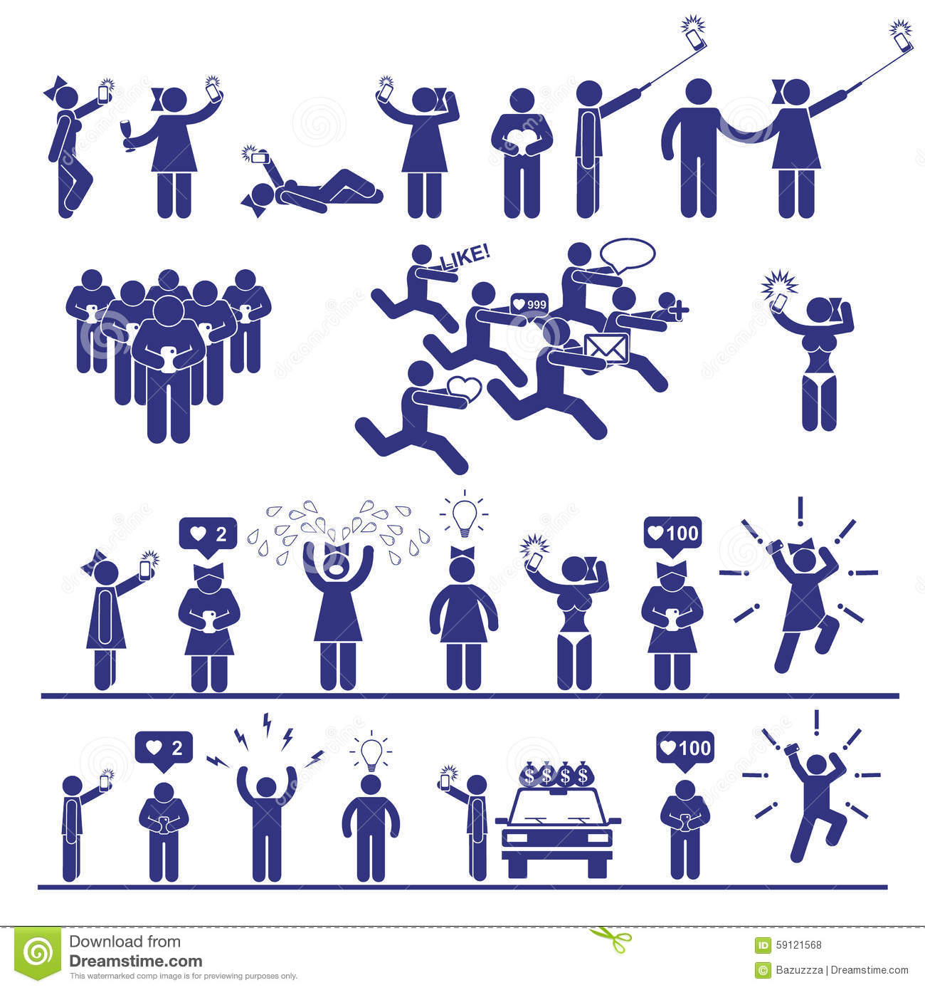 Selfie Vector Stick Figures Set. Social Media Icons And Symbols Stock ...