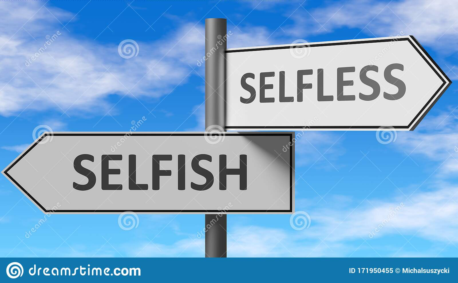 Selfish And Selfless As A Choice - Pictured As Words