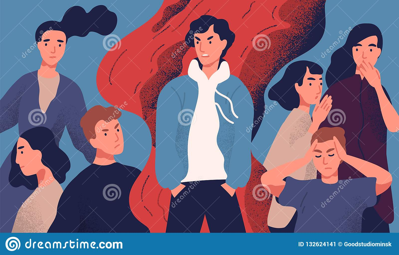 Selfish young man rejected by society because of his annoying behavior. Concept of psychological problem, communication
