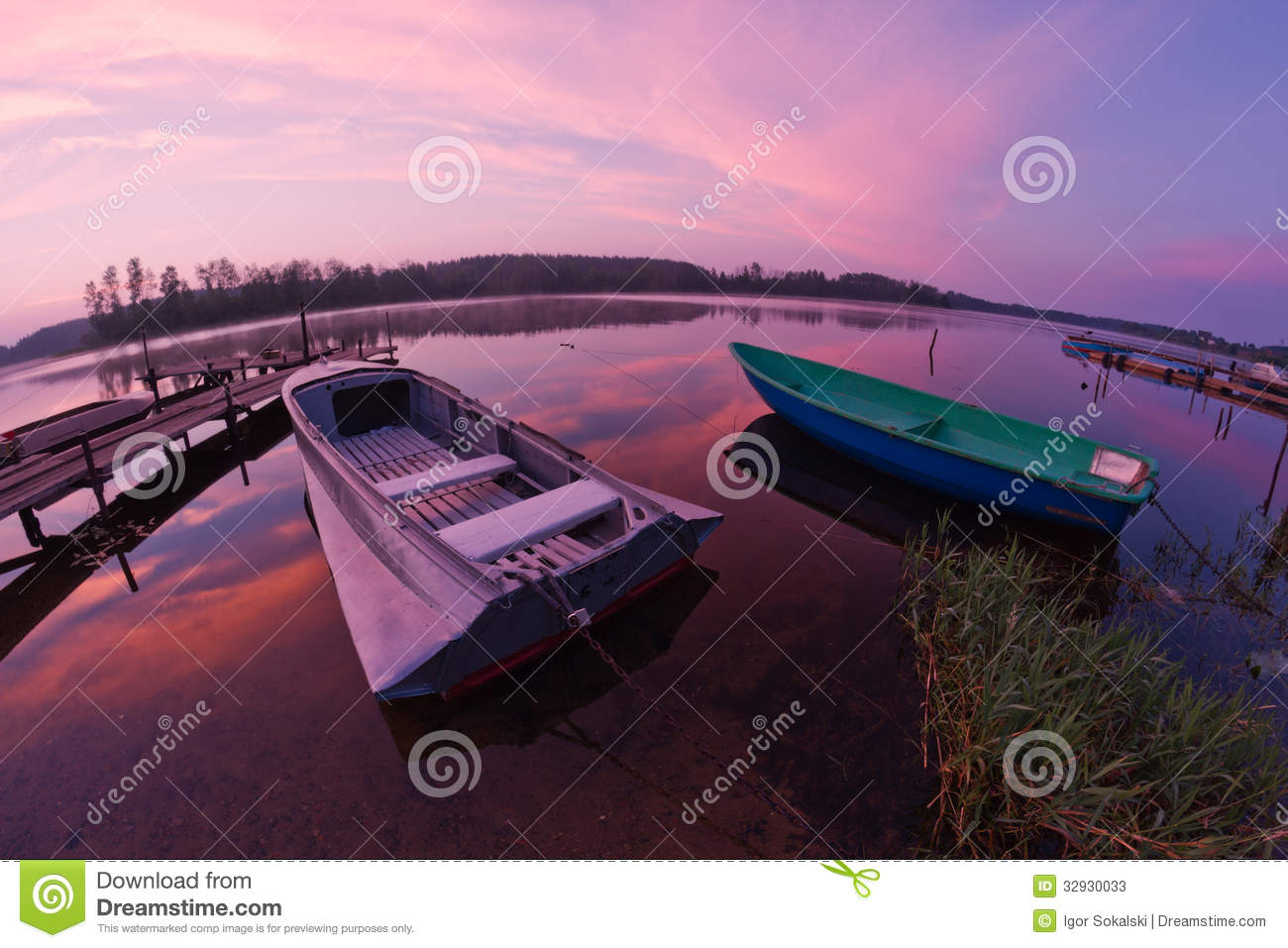 Seliger See: Bootssonnenaufgang