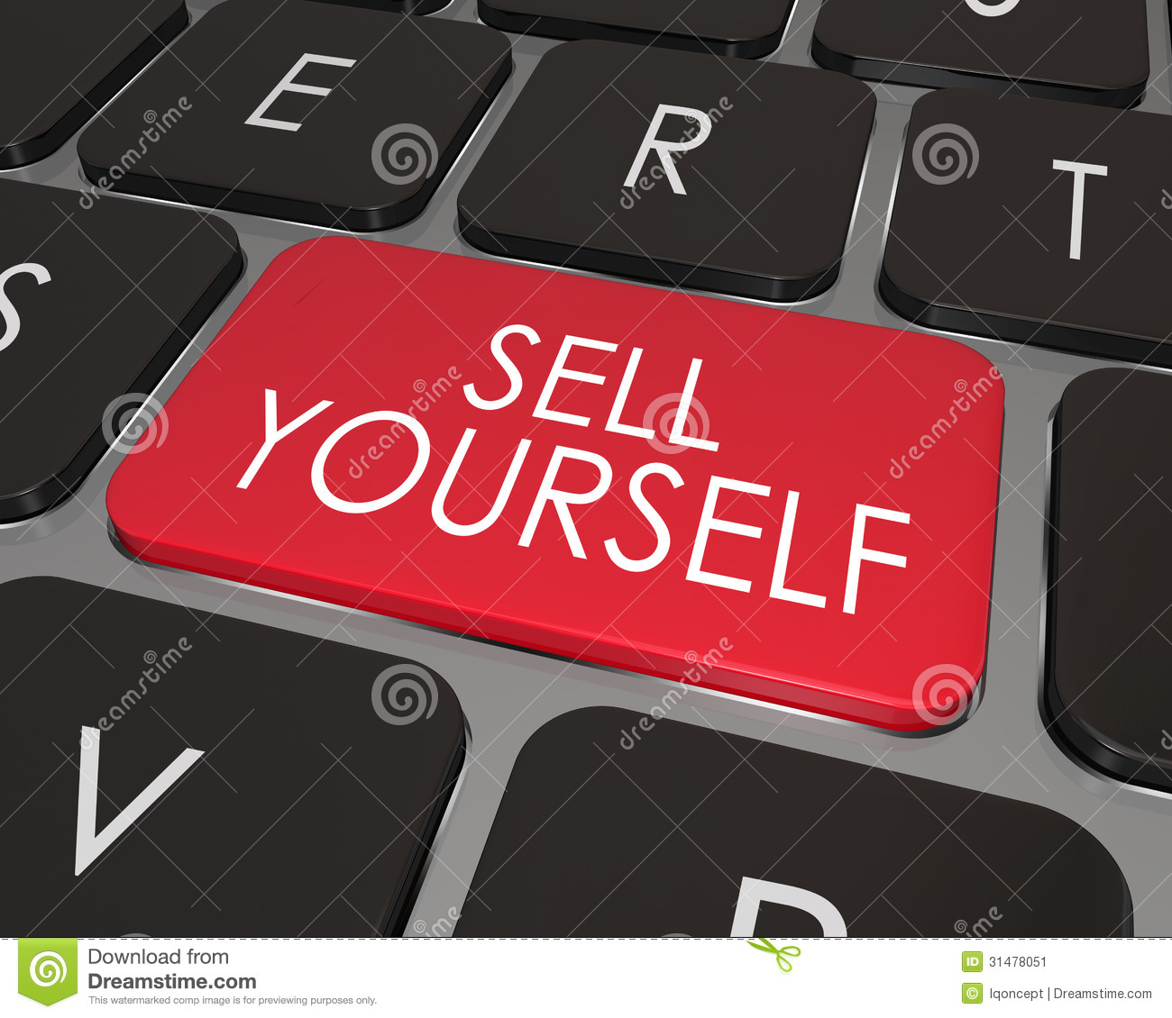 sell yourself computer keyboard red key promotion