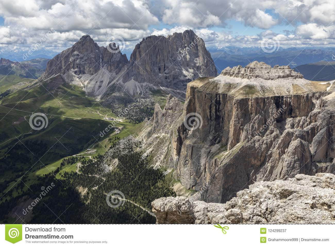 Sella Towers In The Italian Dolomites Stock Image Image Of