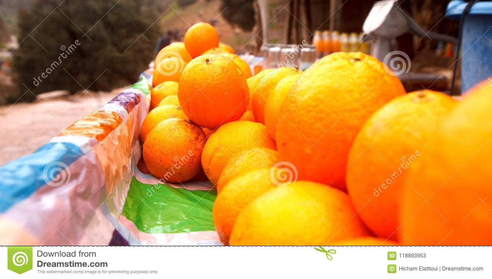 Sellers of oranges on streets