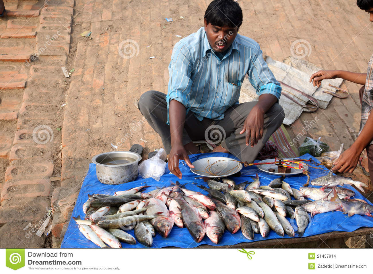 Selling a fish on fish market editorial stock image for Fish on main