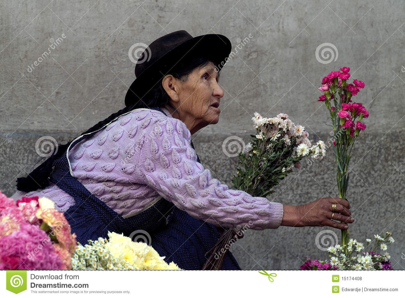 Editorial stock photo selling flowers 2
