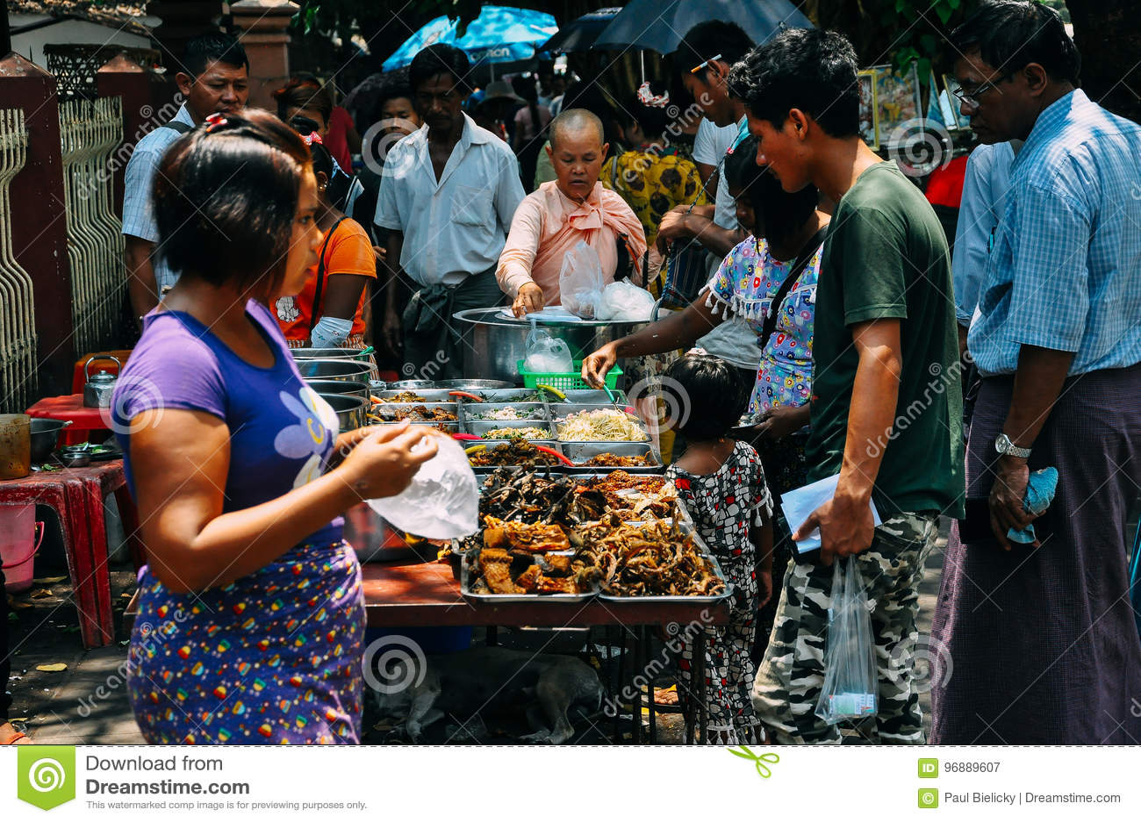 Selling street food in Yangon.
