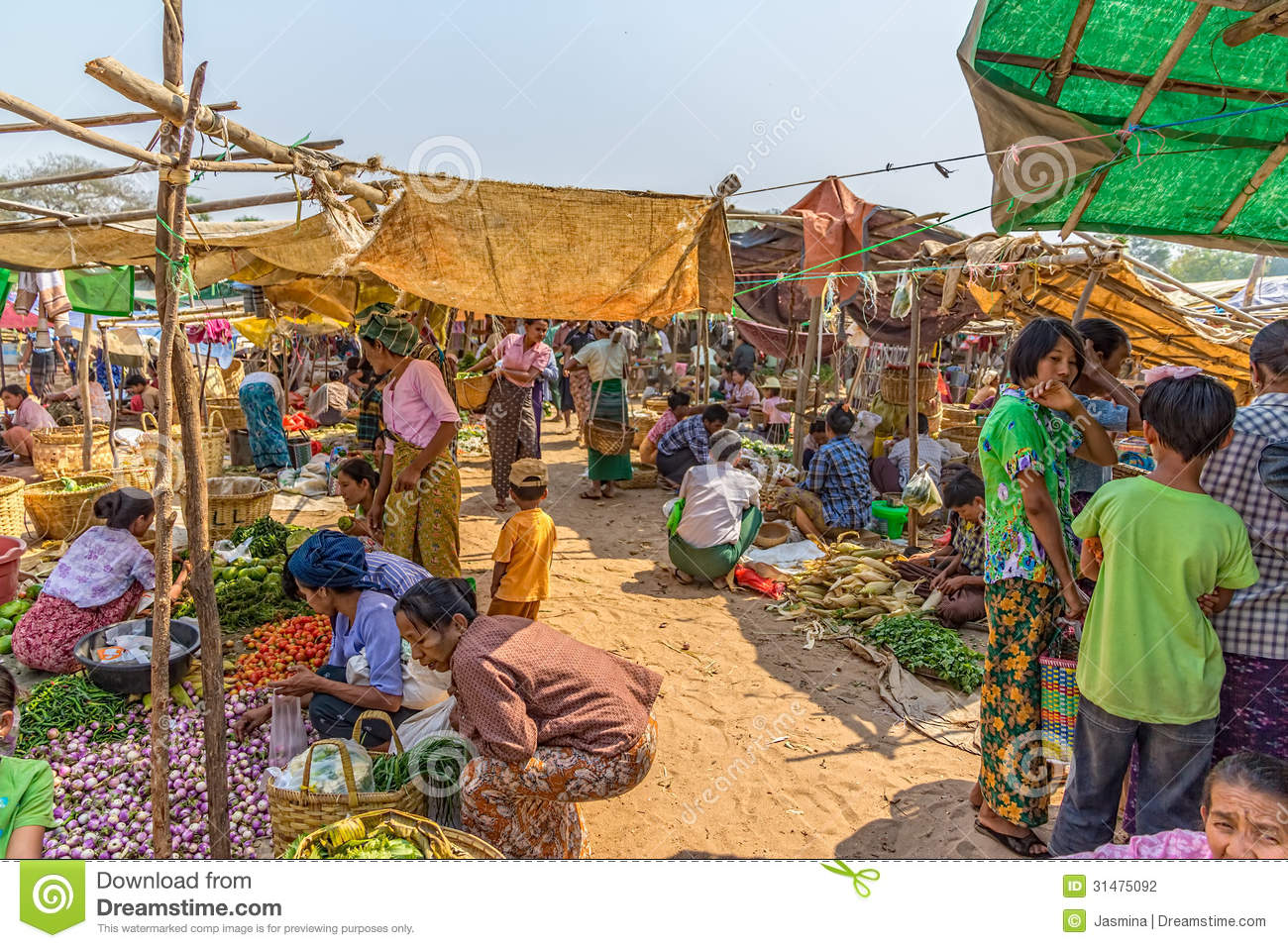 Indian Marketplace Drawing Selling Vegetables At ...