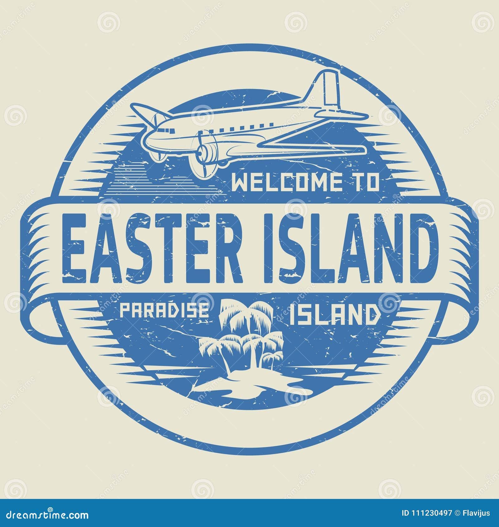 Sello con la recepción del texto a la isla de pascua, isla del paraíso