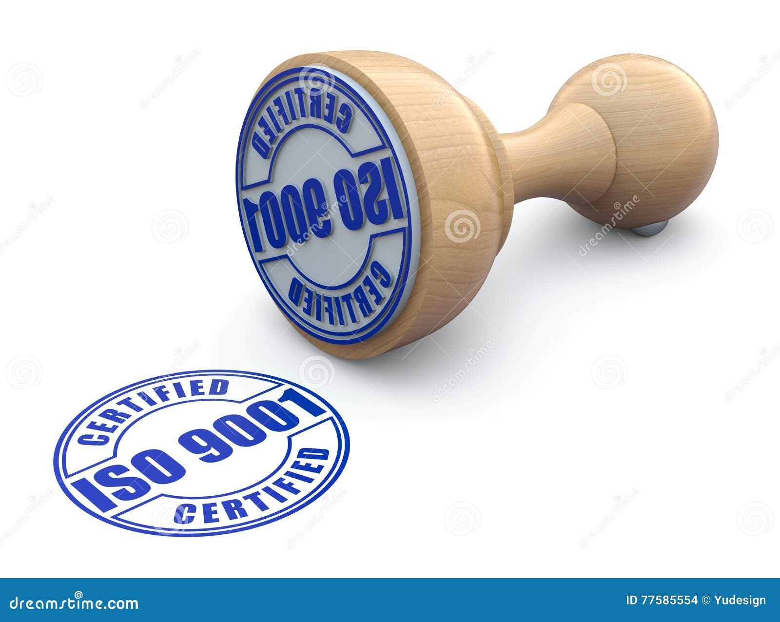 Sello de goma con ISO 9001 - ejemplo 3d