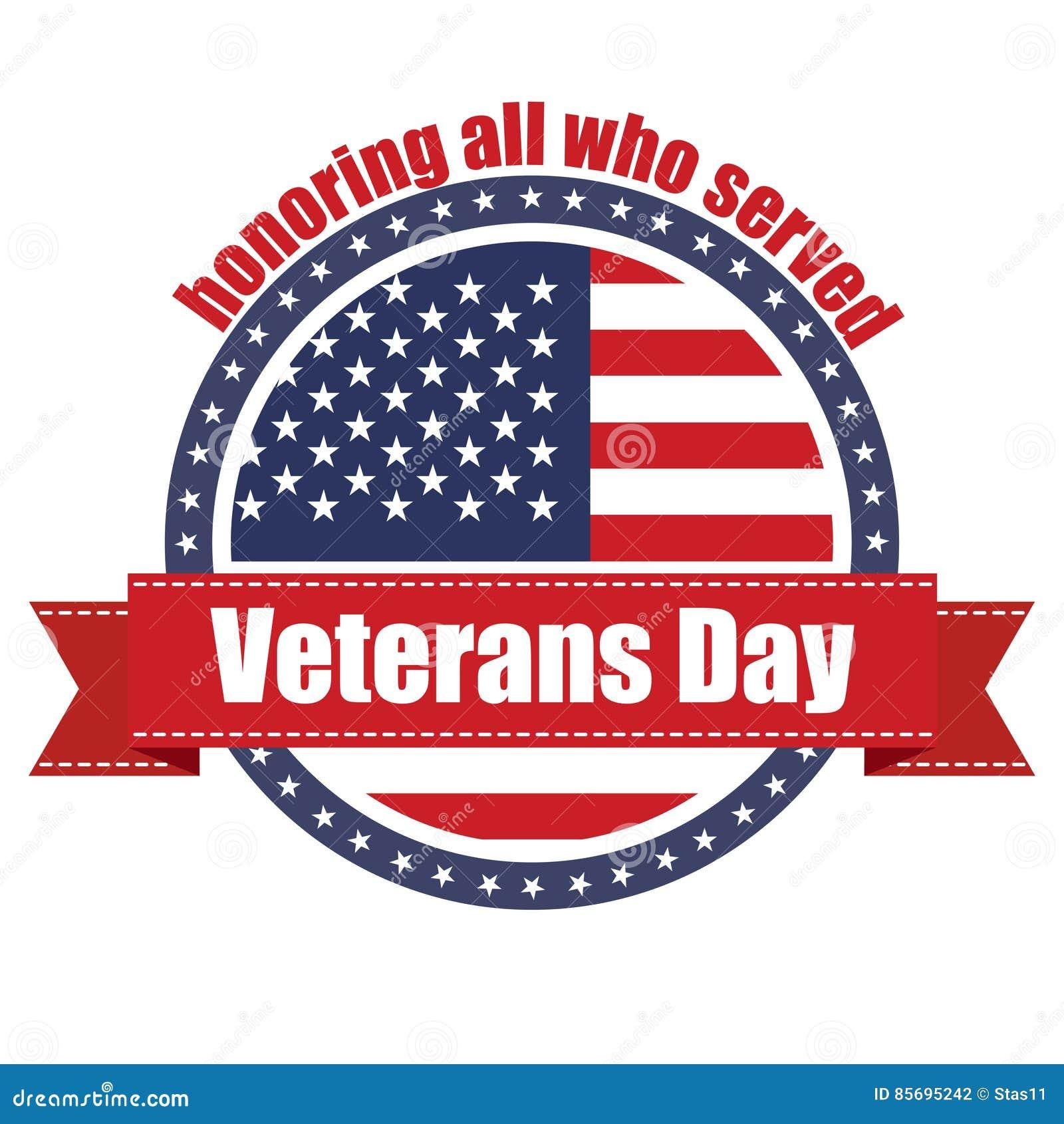 Sello de goma con la cinta roja con el día de veteranos del texto