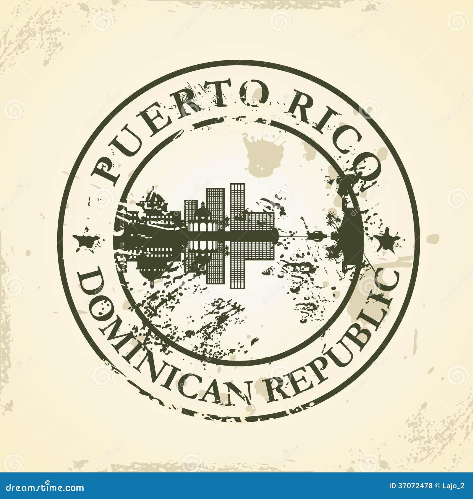 Sello de goma del Grunge con Puerto Rico, dominicano con referencia a