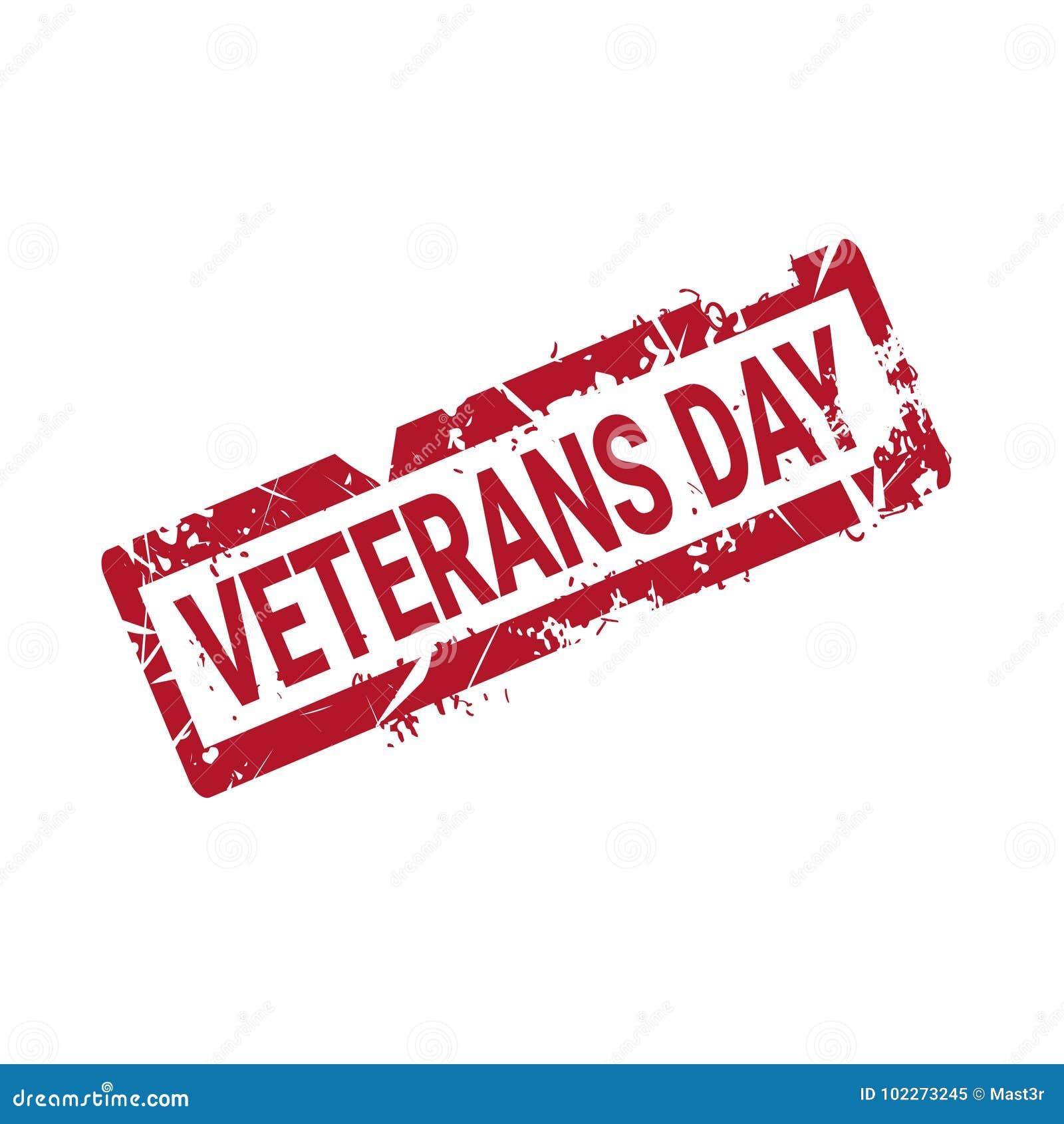 Sello de goma del Grunge del día de los veteranos en el fondo blanco, insignia retra del día de fiesta de los E.E.U.U.